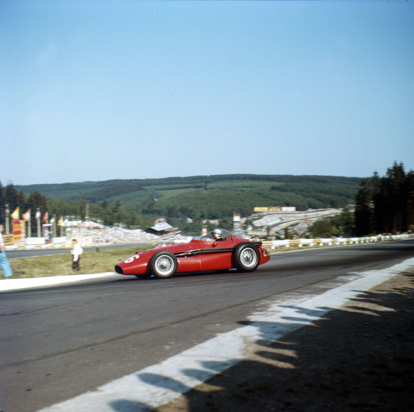 1958 Belgian Grand Prix. Spa-Francorchamps, Belgium. 13th - 15th June 1958. Maria Teresa de Filippis (Maserati 250F), 10th position, action.  World Copyright: LAT Photographic. Ref: 0045.