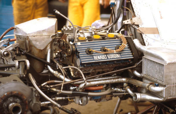 1979 Austrian Grand Prix.Osterreichring, Zeltweg, Austria.10-12 August 1979.Renault Sport's Renault Gordini EF2 twin turbocharged V6 engine on the back of a Renault RS10.Ref-79 AUT 07.World Copyright - LAT Photographic