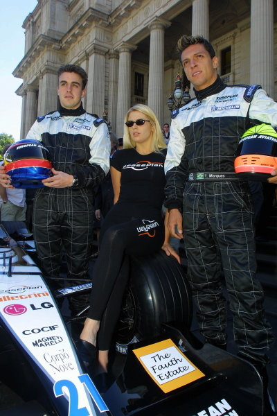 Fernando Alonso (left) and Tarso Marques (right) pose with the new European Minardi PS01. Australian Grand Prix Melbourne, Australia 2nd-4th March 2001  This is a digital file.