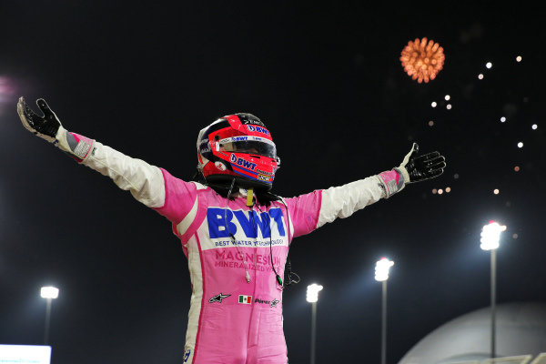 Sergio Perez, Racing Point, 1st position, celebrates on arival in Parc Ferme