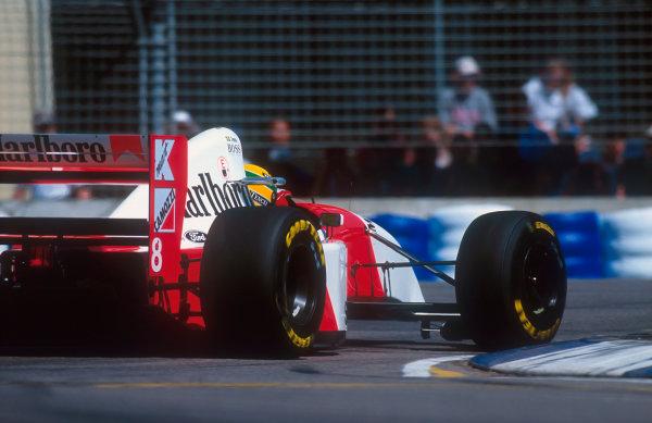 1993 Australian Grand Prix.Adelaide, Australia.5-7 November 1993.Ayrton Senna (McLaren MP4/8 Ford) 1st position, his last Grand Prix win.Ref-93 AUS 37.World Copyright - LAT Photographic