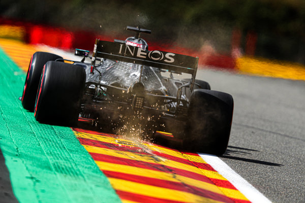 Lewis Hamilton, Mercedes F1 W11 EQ Performance, kicks up some sparks