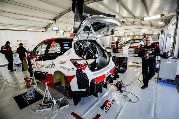 Jari-Matti Latvala (FIN) / Miikka Anttila (FIN), Toyota Gazoo Racing Toyota Yaris WRC in the garage at World Rally Championship, Rd5, Rally Argentina, Preparations, Villa Carlos Paz, Cordoba, Argentina, 26 April 2017.