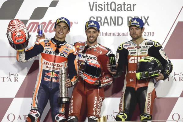Podium: second place Marc Marquez, Repsol Honda Team, Race winner Andrea Dovizioso, Ducati Team, third place Cal Crutchlow, Team LCR Honda.