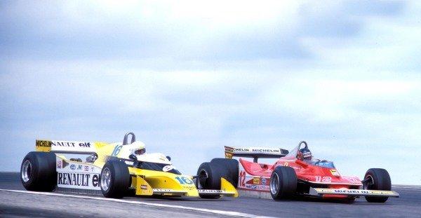Gilles Villeneuve, Ferrari 312T4 battles with René Arnoux, Renault RS10.
