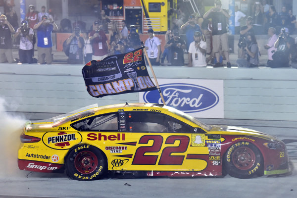 #22: Joey Logano, Team Penske, Ford Fusion Shell Pennzoil celebrates his championship win with a burnout