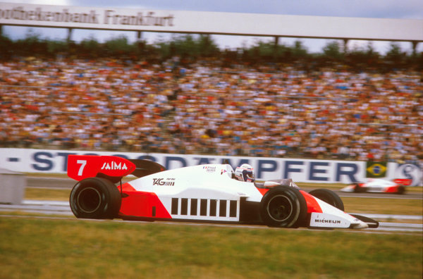 Hockenheim, Germany.3-5 August 1984.Alain Prost (McLaren MP4\2 TAG Porsche) 1st position.Ref-84 GER 08.World Copyright - LAT Photographic