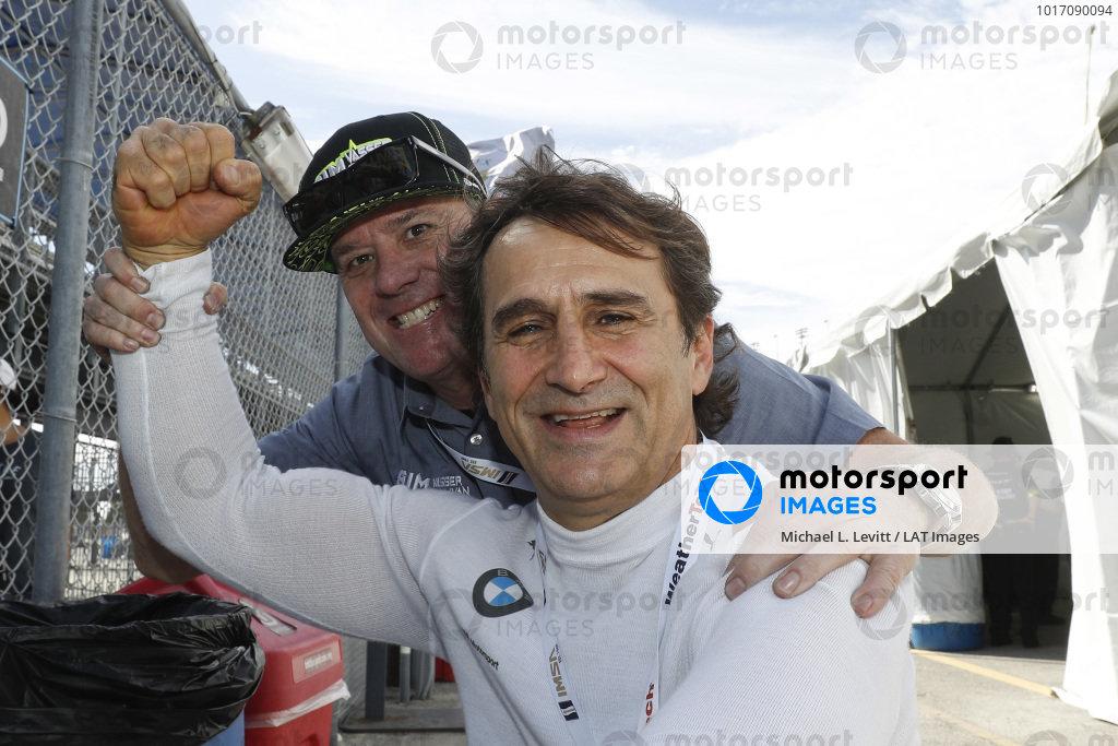 #12 AIM Vasser Sullivan Lexus RC F GT3, GTD team owner Jimmy Vasser with his old teammate Alex Zanardi #24 BMW Team RLL BMW M8 GTE, GTLM