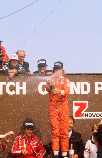 1975 Dutch Grand Prix.Zandvoort, Holland. 20-22 June 1975.James Hunt (Hesketh Ford) 1st position. This was his and the team's maiden Grand Prix win. It was also Hesketh's only Grand Prix victory. Niki Lauda (Ferrari) 2nd position on the podium. Ref-75 HOL 10.World Copyright - LAT Photographic