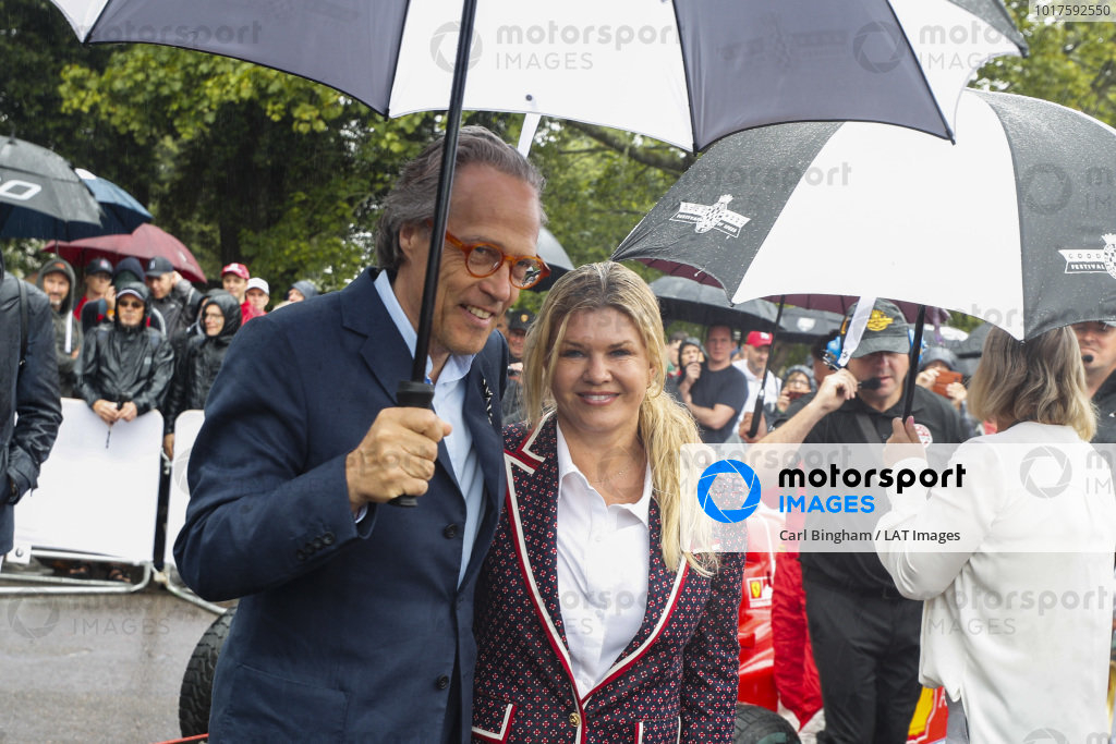 Lord March and Corinna Schumacher in the holding area before the Michael Schumacher Celebration
