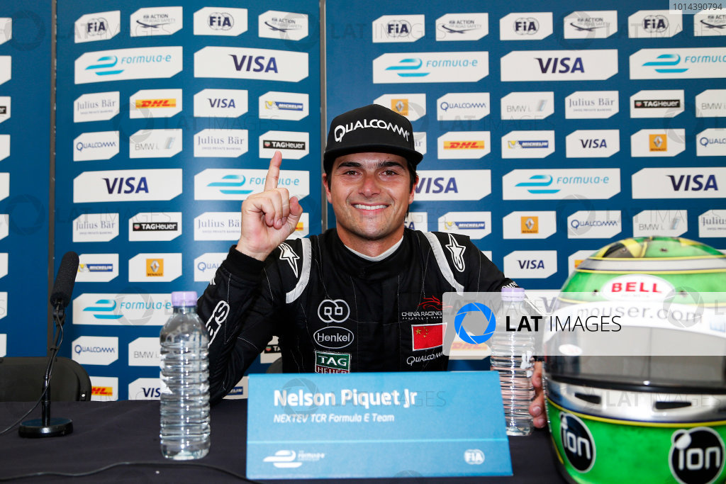 2014/2015 FIA Formula E Championship. London ePrix, Battersea Park, London, United Kingdom. Sunday 28 June 2015 Nelson Piquet Jr (BRA)/China Racing - Spark-Renault SRT_01E in the press conference after the race. Photo: Adam Warner/LAT/Formula E ref: Digital Image _L5R2510