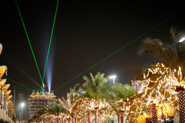 Bahrain International Circuit, Sakhir, Bahrain. Saturday 18 April 2015. The paddock at night. World Copyright: Alastair Staley/LAT Photographic. ref: Digital Image _79P6838