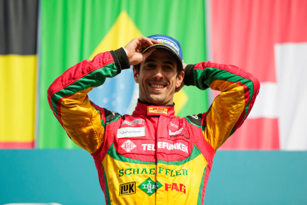 2014/2015 FIA Formula E Championship. Berlin ePrix, Berlin Tempelhof Airport, Germany. Saturday 23 May 2015 Podium. Lucas di Grassi (BRA)/Audi Abt Sport - Spark-Renault SRT_01E. Photo: Zak Mauger/LAT/Formula E ref: Digital Image _MG_7852