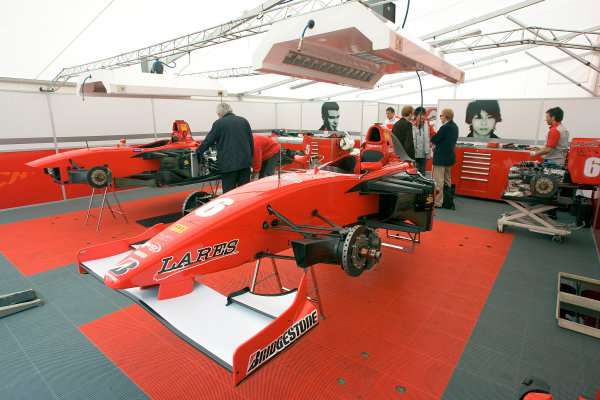 2005 GP2 Series - ImolaAutodromo Enzo e Dino Ferrari, Italy. 21st - 24th April.Thursday Preview.Hiro Yoshimoto's car in the BCN Competicion pit.Photo: GP2 Series Media Serviceref: Digital Image Only.