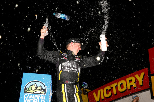 NASCAR Camping World Truck Series M&M?s 200 presented by Casey?s General Store Iowa Speedway, Newton, IA USA Friday 23 June 2017 John Hunter Nemechek, Fire Alarm Services/Romco Equipment Co. Chevrolet Silverado celebrates in victory lane  World Copyright: Russell LaBounty LAT Images