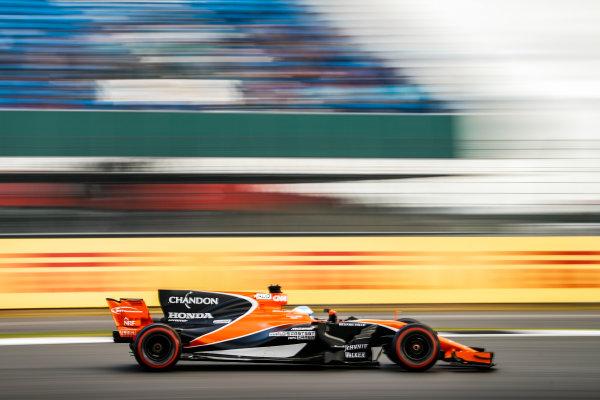 Silverstone, Northamptonshire, UK.  Friday 14 July 2017. Fernando Alonso, McLaren MCL32 Honda. World Copyright: Glenn Dunbar/LAT Images  ref: Digital Image _31I3380