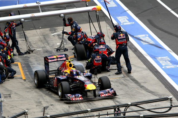 Nurburgring, Germany.24th July 2011Mark Webber, Red Bull Racing RB7 Renault, 3rd position, leaves the pits. Action. Pit Stops. World Copyright: Andy Hone/LAT Photographicref: Digital Image CSP23858