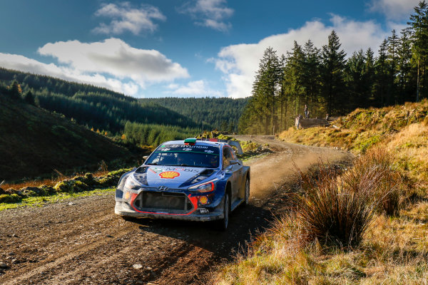 2017 FIA World Rally Championship, Round 12, Wales Rally GB, 26-29 October, 2017, Hayden Paddon, Hyundai, action, Worldwide Copyright: LAT/McKlein