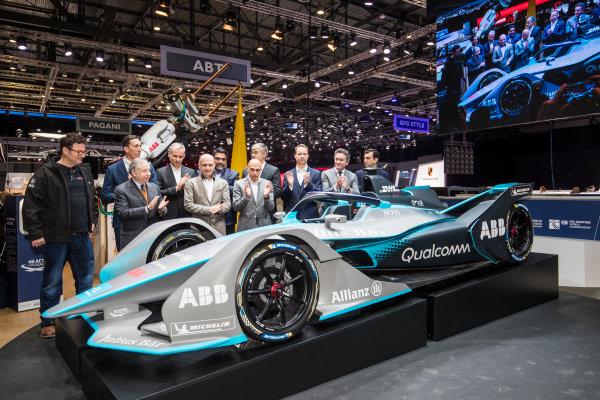 2017/2018 FIA Formula E Championship. Geneva Motor Show Tuesday 6 March 2018. The FIA Formula-E Gen2 car is unveiled. Photo: Sam Bloxham/LAT/Formula E ref: Digital Image _W6I3842