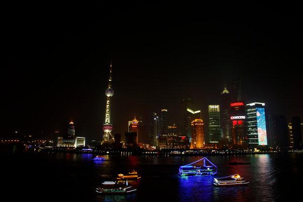 Shanghai International Circuit, Shanghai, China 16th October 2008 The Shanghai skyline at night. World Copyright: Charles Coates/LAT Photographic ref: Digital Image _26Y6482