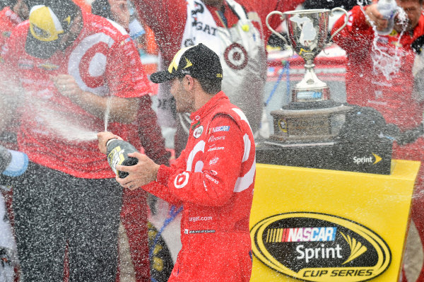26-28 August, 2016, Brooklyn, Michigan USA Kyle Larson celebrates his win in Victory Lane ? 2016, Nigel Kinrade LAT Photo USA
