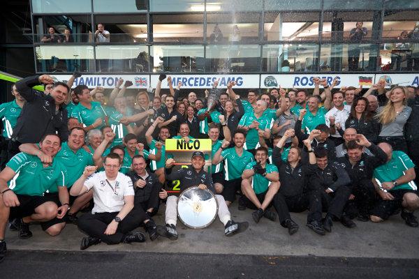 Albert Park, Melbourne, Australia. Sunday 16 March 2014. Nico Rosberg, Mercedes AMG, 1st Position, celebrates with his team. World Copyright: Steve Etherington/LAT Photographic. ref: Digital Image SNE13848 copy