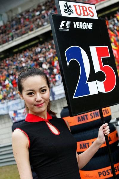 Shanghai International Circuit, Shanghai, China. Sunday 20 April 2014. Grid Girl. World Copyright: Alastair Staley/LAT Photographic. ref: Digital Image _79P5700
