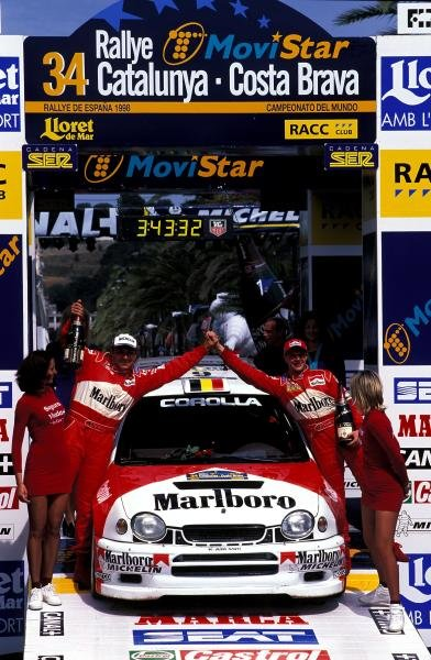Freddy Loix (BEL) Toyota Corolla WRC finished in 2nd place. World Rally Championship, Rd5, Rally Catalunya, Spain, 20-22 April 1998.