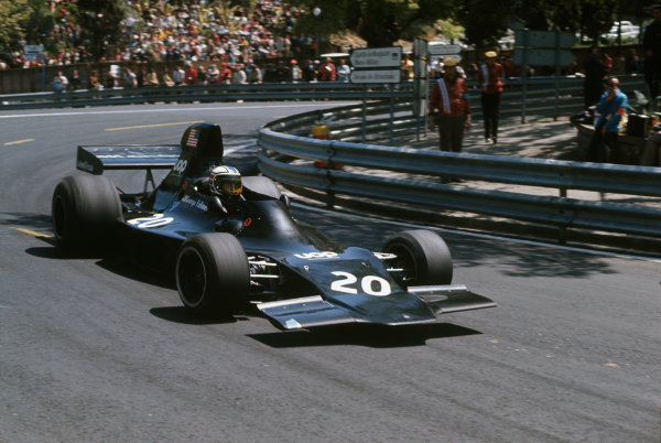 Montjuich Park, Barcelona, Spain.27-29 April 1973.George Follmer (Shadow DN1A-Ford) 3rd position, action.World Copyright: LAT Photographic.Ref:  Colour Transparency.