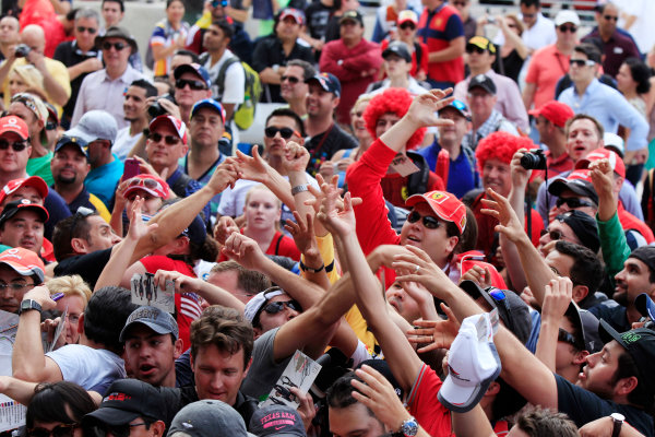 Circuit of the Americas, Austin, Texas, United States of America. Saturday 16th November 2013.  Fans gather around the live stage. World Copyright: Charles Coates/LAT Photographic. ref: Digital Image _X5J9750