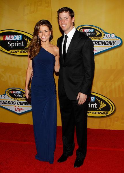 30 November - 2 December, 2011, Las Vegas, Nevada, USADenny Hamlin and girlfriend Jordan Fish(c)2011, Michael L. LevittLAT Photo USA