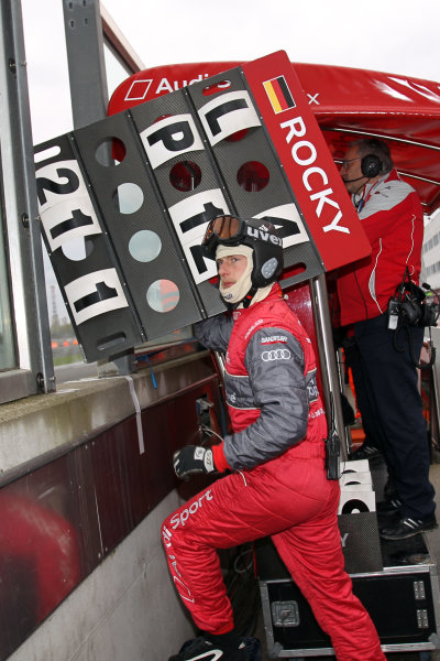 Pit board for Mike Rockenfeller (GER), Audi Sport Team Phoenix, S line Audi A4 DTM (2008).DTM, Rd10, Adria International Raceway, Italy. 29-31 October 2010 World Copyright: LAT Photographicref: dne1031oc122