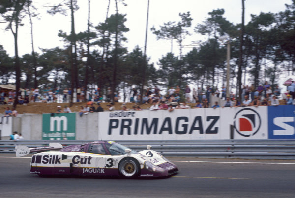 Le Mans, France. 16th - 17th June 1990. Martin Brundle/John Nielsen/Price Cobb/Eliseo Salazar (Jaguar XJR12), 1st position, action. World Copyright: LAT Photographic. Ref: 90LM18.
