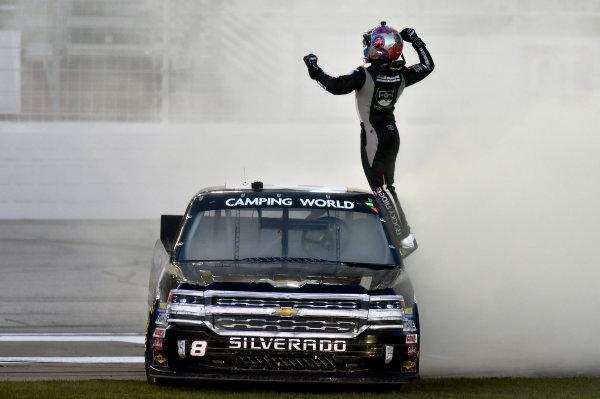26-27 February 2016, Hampton, Georgia USA John Hunter Nemechek celebrates his win with a burnout ? 2016, Nigel Kinrade LAT Photo USA