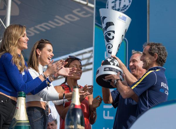 2015/2016 FIA Formula E Championship. Punta del Este ePrix, Punta del Este, Uruguay. Saturday 19 December 2015. Alain Prost on the podium. Photo: Jed Leicester/LAT/Formula E ref: Digital Image _L1_5554