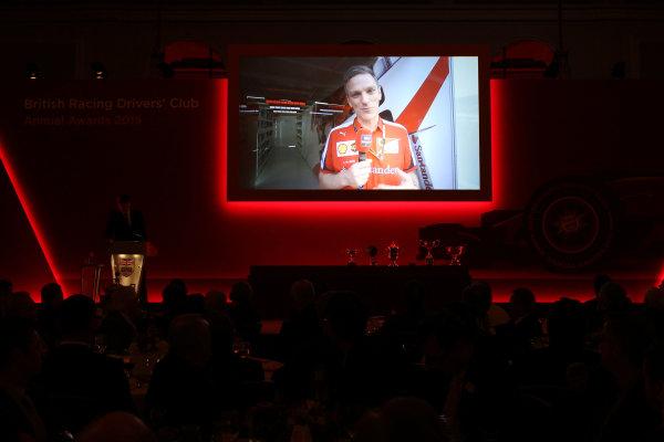 2015 British Racing Drivers Club Awards Grand Connaught Rooms, London Monday 7th December 2015 James Allison (Ferrari) accepts his award on screen. World Copyright: Jakob Ebrey/LAT Photographic ref: Digital Image Allison-01