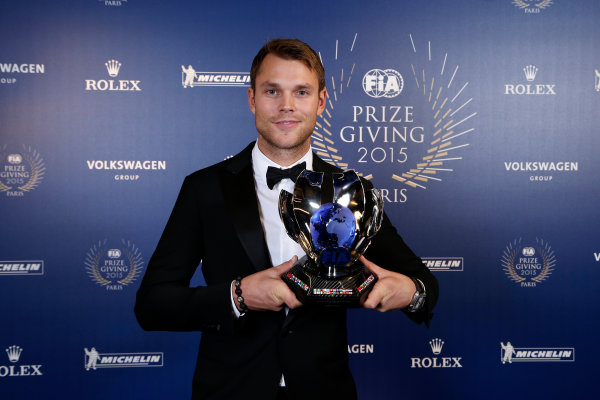 2015 FIA Prize Giving Paris, France Friday 4th December 2015 Andreas Mikkelsen, portrait  Photo: Copyright Free FOR EDITORIAL USE ONLY. Mandatory Credit: FIA / Jean Michel Le Meur  / DPPI ref: _ML23447