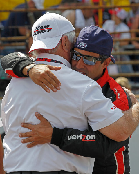 24 May, 2015, Indianapolis, Indiana, USA Roger Penske and Juan Pablo Montoya hug after winning the 99th Indianapolis 500 ?2015, Ernie Masche LAT Photo USA
