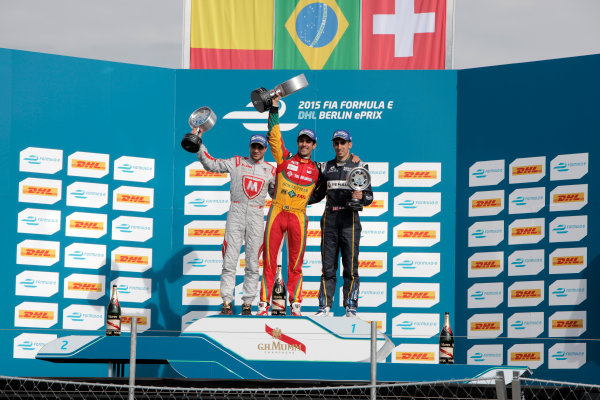 2014/2015 FIA Formula E Championship. Berlin ePrix, Berlin Tempelhof Airport, Germany. Saturday 23 May 2015 Podium. 1st, Lucas di Grassi (BRA)/Audi Abt Sport - Spark-Renault SRT_01E, 2nd, Jerome D'Ambrosio (BEL)/Dragon Racing - Spark-Renault SRT_01E and 3rd, Sebastien Buemi (SWI)/E.dams Renault - Spark-Renault SRT_01E. Photo: Andrew Ferraro/LAT/Formula E ref: Digital Image _MG_7624