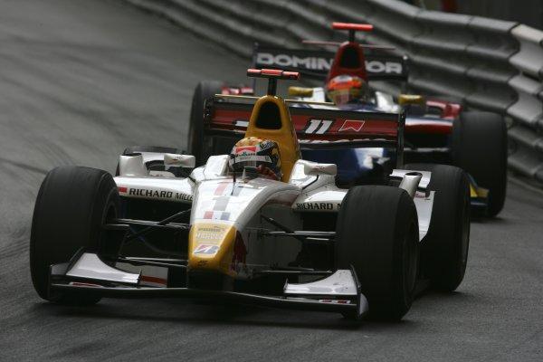 2007 GP2 Series. Round 3. Saturday Race.Monte-Carlo, Monaco. 26th May 2007.Sebastien Buemi (SUI, ART Grand Prix) leads Timo Glock (GER, iSport International) . Action.World Copyright: Andrew Ferraro/GP2 Series Media Service ref: Digital ImageZP9O1053