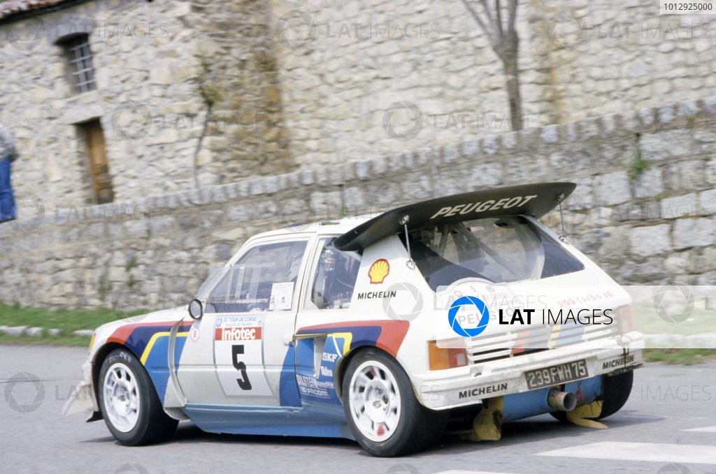 Tour de Corse, Ajaccio, Corsica, France. 1st - 3rd May 1986. Rd 5. Bruno Saby/Jean-Francois Fauchille (Peugeot 205 T16 E2), 1st position. World Copyright: LAT Photographic. Ref: 86RALLY04