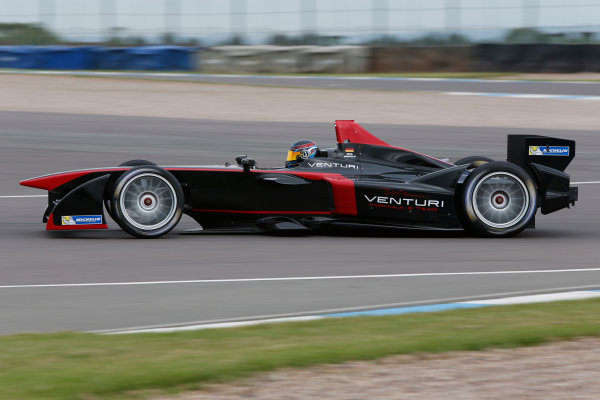 FIA Formula E Test Day Donington Park, UK.  3rd - 4th July 2014.  Nick Heidfeld, Venturi Grand Prix. Photo: Zak Mauger/FIA Formula E ref: Digital Image _L0U4996