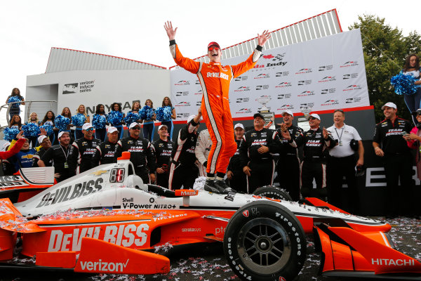 Verizon IndyCar Series Honda Indy Toronto Toronto, ON CAN Sunday 16 July 2017 Josef Newgarden, Team Penske Chevrolet celebrates the win in victory lane World Copyright: Phillip Abbott LAT Images ref: Digital Image _90V1846