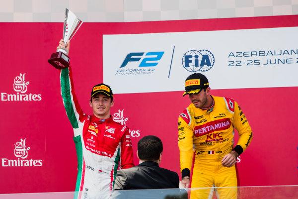 2017 FIA Formula 2 Round 4. Baku City Circuit, Baku, Azerbaijan. Sunday 25 June 2017. Charles Leclerc (MCO, PREMA Racing), Norman Nato (FRA, Pertamina Arden)  Photo: Zak Mauger/FIA Formula 2. ref: Digital Image _56I8621