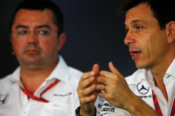 Red Bull Ring, Spielberg, Austria. Friday 07 July 2017. Toto Wolff, Executive Director (Business), Mercedes AMG, in the Friday press conference alongside Eric Boullier, Racing Director, McLaren.  World Copyright: Andy Hone/LAT Images ref: Digital Image _ONY9953