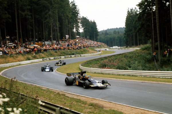 Nurburgring, Germany. 2nd - 4th August 1974. Ronnie Peterson (Lotus 72E-Ford), 4th position, action. World Copyright: LAT Photographic.Ref:  74GER