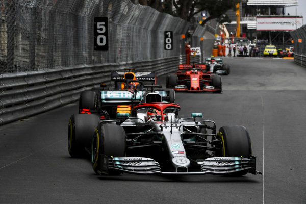 Lewis Hamilton, Mercedes AMG F1 W10 leads Max Verstappen, Red Bull Racing RB15