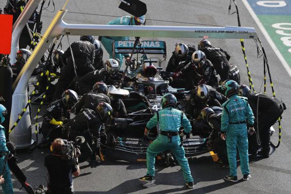 Lewis Hamilton, Mercedes F1 W11 EQ Performance, makes a stop