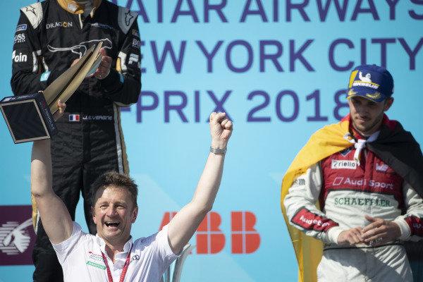 Allan McNish, Team Principal, Audi Sport Abt Schaeffler, celebrates winning the constructors trophy.