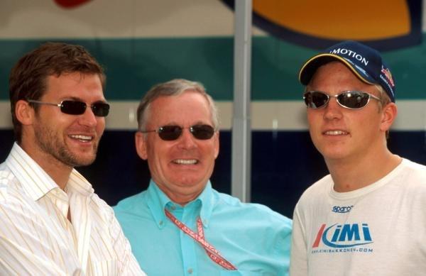 (L to R): Steve Robertson (GBR), David Robertson (GBR) and Kimi Raikkonen (FIN) Sauber. German Grand Prix, Hockenheim, 29 July 2001 BEST IMAGE